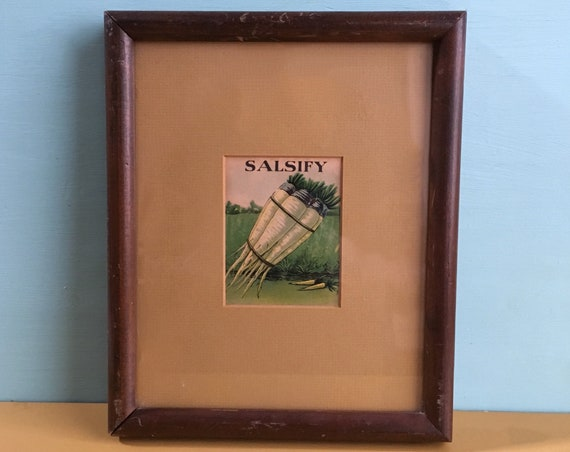 Vintage 1930s - yellow & green SALSIFY root litho print in wooden frame with yellow matte - cooking / kitchen / home / wall decor