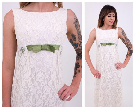 Vintage 1960s - women's white sleeveless floral lace empire waist long maxi party dress - green satin bow belt - Small - 32 bust 26 waist