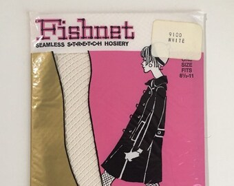 Vintage 1960s - women's mod NOS deadstock unopened white seamless fishnet tights - hosiery - accessories