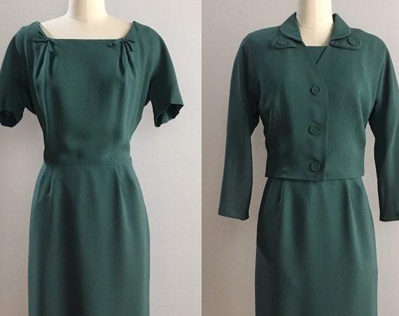 Vintage 1950s - women's dark green pinup 2-piece short sleeve wiggle dress & matching bolero jacket suit set 38 bust 26 waist