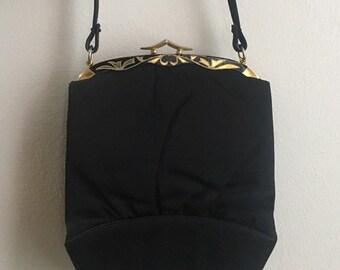 Vintage 1950s - pin up glam Crown Lewis black sateen satin top handle purse / handbag - gold metal painted floral frame
