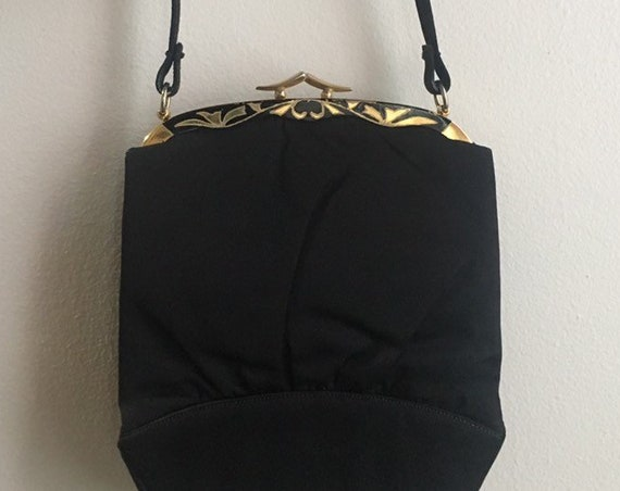 Vintage 1950s - pin up glam Crown Lewis black sateen satin top handle purse / handbag - gold metal painted floral frame
