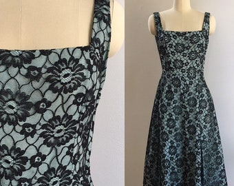 Vintage 1950s - women's wide strap teal and black floral lace fit & flare formal dress - Small - 36 bust 27 waist - AS IS