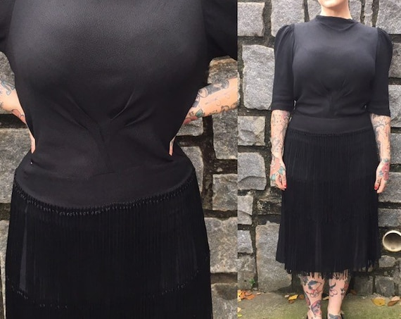 Vintage 1930s - women's structured half sleeve black high neck fringe skirt dress - button down back - S / M Small Medium - 38 bust 27 waist