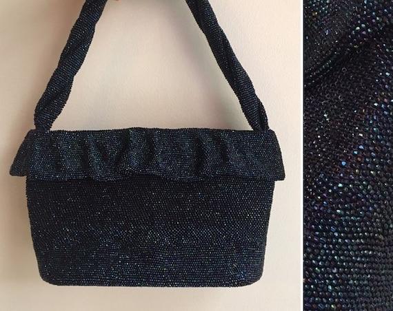 Vintage 1940s / 1950s - large iridescent blue beaded top handle formal evening cocktail holiday purse / handbag - satin lining