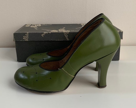 1940s - women's green leather round toe pinup high heels shoes - original box - size 7