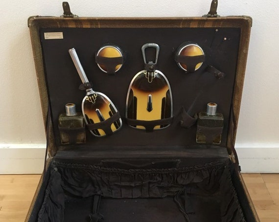 Vintage 1920s - women's 6-piece brown & yellow art deco makeup hair skincare travel vanity set with suitcase - travel / luggage