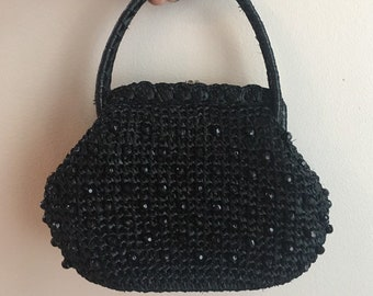 8484851bbc2 Vintage 1950s 50s 50 s pinup rockabilly crocheted black raffia top handle  purse bag handbag black beads detail kissing lock clasp closure