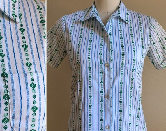Vintage 1960s / 1970s - white short sleeve striped button up Girl Scout shirt blouse - girl's size 12 - women's S - 34 bust 32 waist