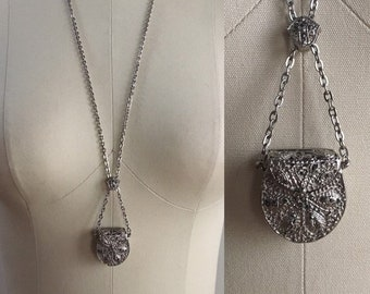 Vintage 1960s - long silver tone metal mini purse / handbag pendant charm cable chain necklace - costume jewelry - accessories