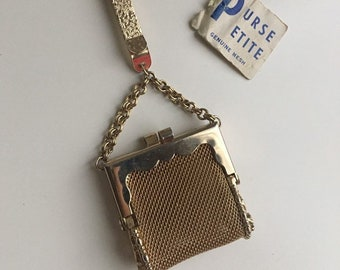 Vintage 1960s - gold tone metal mesh clip-on Purse Petite mini handbag bag - charm / key chain - kissing lock closure - jewelry accessories