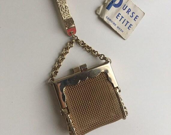 Vintage 1960s - gold tone metal mesh clip-on Purse Petite mini handbag bag - charm / key chain - kissing lock closure - jewelry accessories