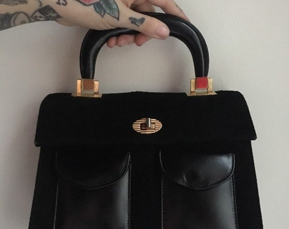 Vintage 1960s / 1970s - Tano of Madrid black suede top handle structured handbag / purse - gold metal hardware - fall winter accessories