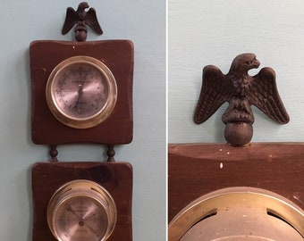 Vintage 1970s / 1980s - brown wooden square wall hanging - barometer & thermometer - metal American bald eagle detail - home wall art decor