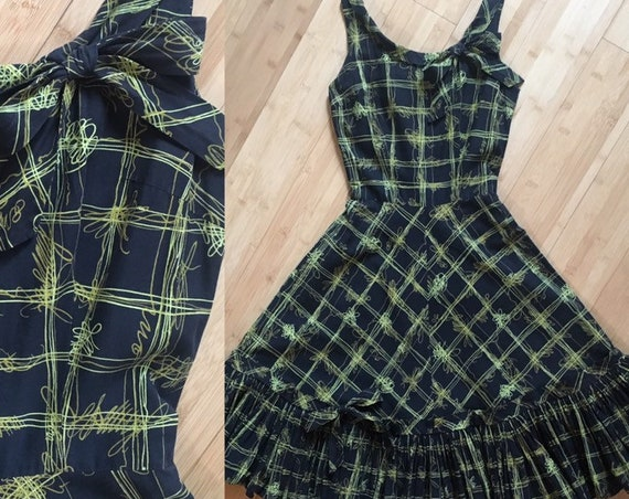 Vintage 1950s - women's rockabilly sleeveless navy blue, green and yellow graphic atomic print fit & flare dress - XS - 32 bust 24 waist