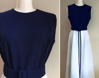 Vintage 1970s - women's sleeveless navy blue & white color block polyester maxi dress - matching belt - L / Large - 40 bust 30 waist
