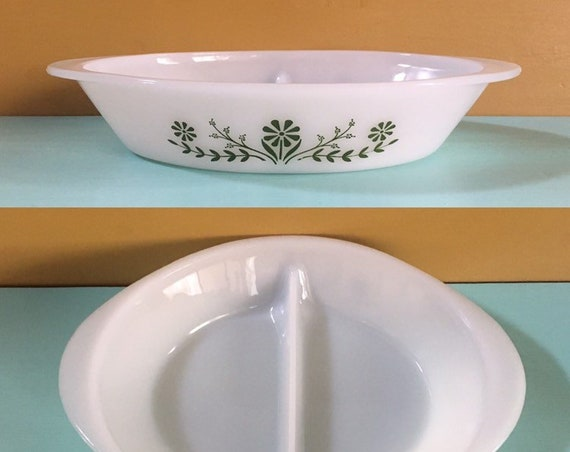 Vintage 1950s / 1960s - white oval Glasbake serving dish - green floral design - kitchen dining / serving / home decor