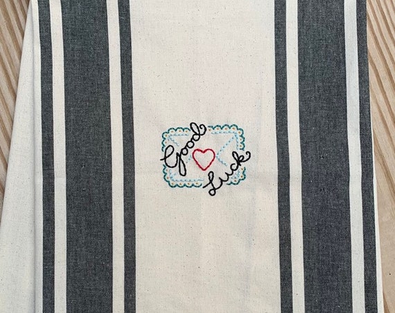 'Good Luck' love letter kitchen / tea towel