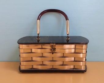 Vintage 1950s - pinup rockabilly VLV gold metal basket rectangle structured box purse handbag bag - brown lucite - top handle- accessories
