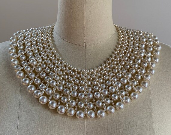 Vintage 1980s - women's wide multi strand faux pearl collar necklace - costume jewelry / accessories