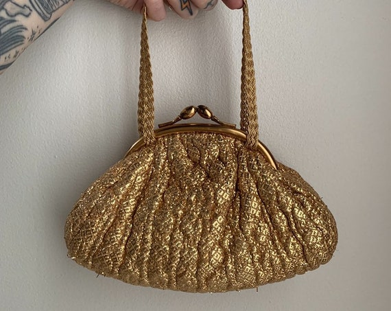 1950s / 1960s - small glam woven gold lamé top handle  evening bag