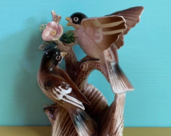 1950s - pink, brown, green ceramic birds & flower figurine / statue