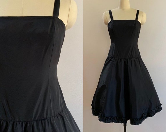 Vintage 1960s - women's black taffeta ribbon strap drop waist fit & flare party dress - ruffle trim - Small - size 4 - 34 bust 27 waist