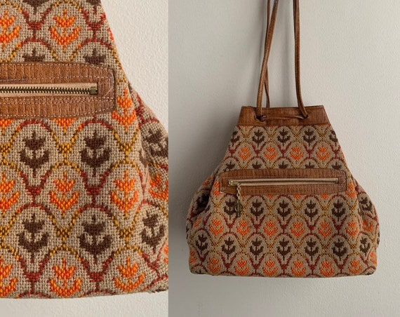 1960s / 1970s - brown leather & woven wool drawstring hippie handbag / purse - red, yellow, brown, orange leaf pattern