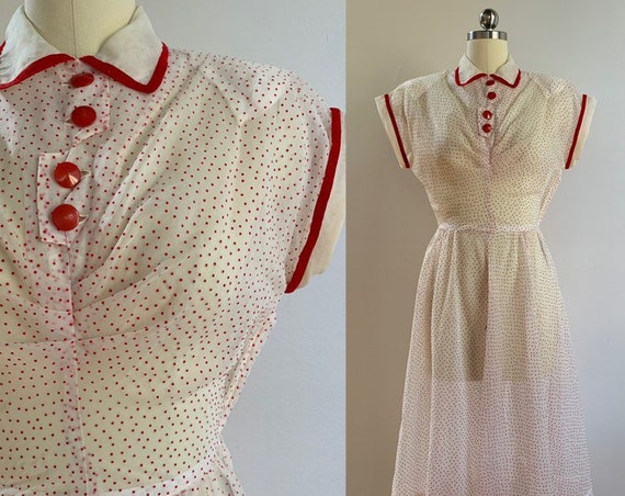 Vintage 1950s - short sleeve sheer white with red swiss polka dots fit & flare dress - XS Extra Small - 36 bust 25 waist