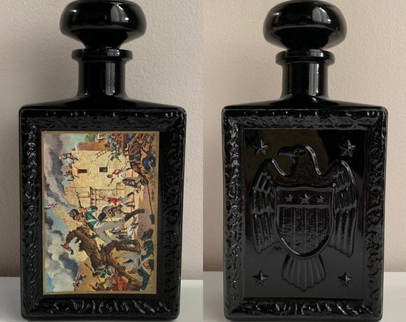 1960s - mid century black amethyst Battle of the Alamo & eagle decanter / liquor bottle