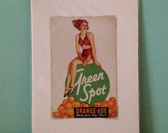 Vintage 1950s 50s 50's single poker bridge playing card Green Spot soda ad advertisement redhead pinup girl ephemera wall art