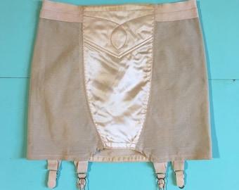 Vintage 1950s - pinup pink satin nylon girdle shaper waist cincher / garter belt lingerie - S M small medium - 25 waist 30 hips unstretched