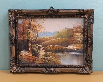 Vintage 1960s / 1970s - small framed original painting - fall outdoor landscape nature scene - wall art / home decor