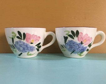 Vintage 1950s - matching pair set of 2 white, pink, blue & green ceramic tea / coffee cups - fruit flowers design - kitchen dining serving