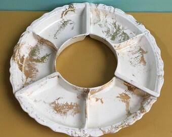 Vintage 1950s - mid century 3-piece set - white ceramic Lazy Susan circular party serving chip & dip snack set - gold paint splatter design