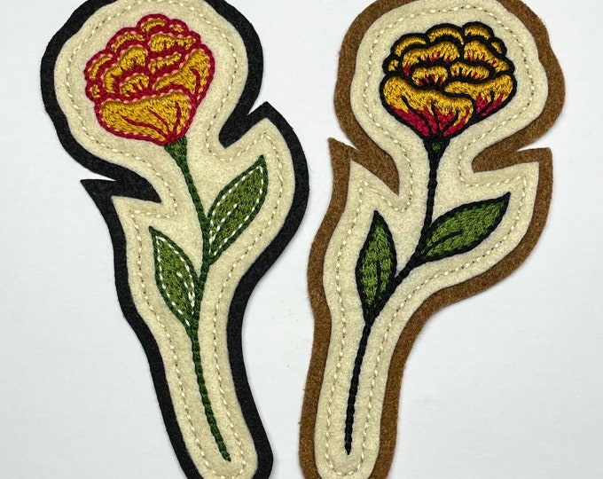 Featured listing image: Handmade / hand embroidered off white and black / tan felt patch - yellow & dark fuschia marigold - vintage style - traditional tattoo flash