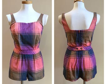 Vintage 1950s - green, yellow, pink & blue rockabilly pinup girl madras plaid cotton swimsuit / playsuit / romper - Small - 36 bust 24 waist