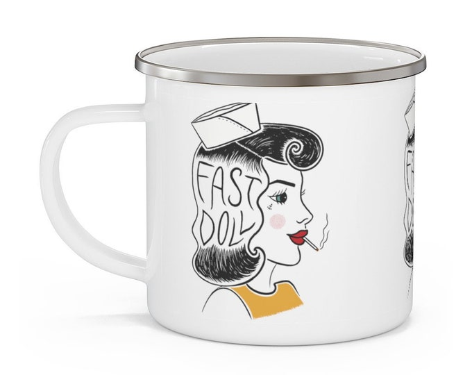 Featured listing image: Fast Doll indoor / outdoor white enamel sailor girl coffee or tea mug