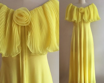 Vintage 1970s does 1930s - women's bright yellow sleeveless off the shoulder polyester long full skirt dress - Medium - 38 bust 27 waist