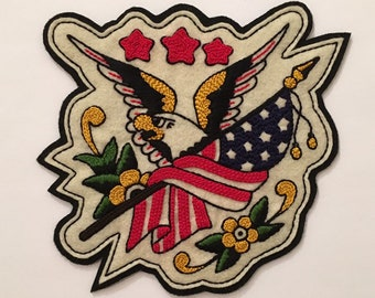 Handmade / hand embroidered black & off white felt patch - Sailor Jerry American bald eagle and flag - 1940s vintage style - tattoo flash