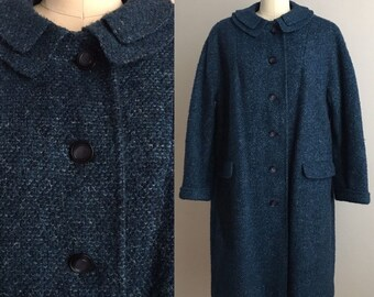 Vintage 1950s / 1960s - women's pin up rockabilly fall winter speckled teal blue woven wool long overcoat - long sleeve - up to 46 bust