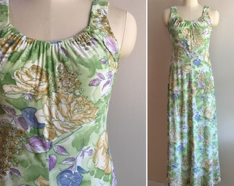 Vintage 1970s - women's purple green & gold long floral print polyester summer sleeveless strappy maxi dress - S small - 34 bust 30 waist
