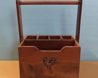 Vintage 1950s / 1960s - midcentury wooden kitchen / desk storage caddy - metal rooster detail - kitchen home decor Made in Japan