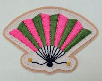 Pink & green folding fan patch