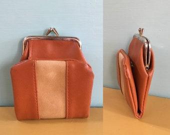Vintage 1970s - women's brown & tan vinyl folding snap wallet - change purse - billfold - purses / handbags accessories