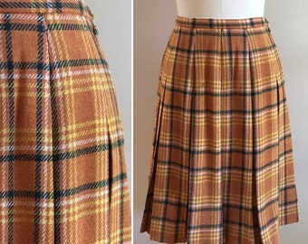 Vintage 1950s / 1960s - women's fall orange, yellow, green & white woven wool plaid box pleat skirt - M medium - 28 waist