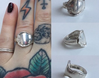 Vintage 1940s / 1950s - women's sterling silver Towle French Provincial spoon ring - floral design - size 5.5 - jewelry accessories