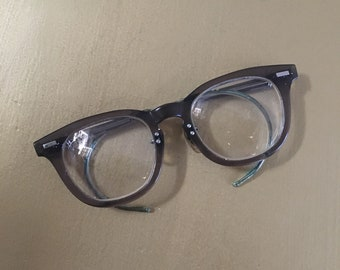 Vintage 1950s - unisex men's women's rockabilly clear gray horn rimmed nerd prescription eyeglasses / glasses - adjustable flexible arms