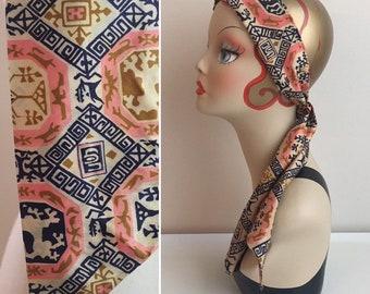 Vintage 1960s - boho hippie pin,k blue & gold geometric tribal print headband / neck head scarf - accessories