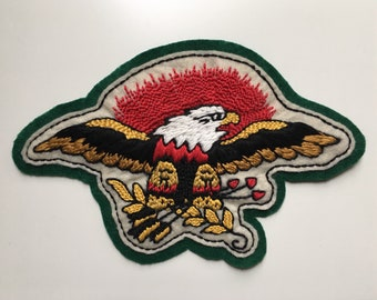 Handmade / hand embroidered green & off white felt patch - Sailor Jerry American bald eagle - 1940s vintage style - traditional tattoo flash